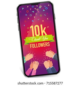 Vector banner Thank you to the followers of 10000 subscribers of the approval gadget