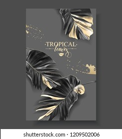 Vector banner with tropical leaves and gold splashes on dark background. Luxury exotic botanical design for cosmetics, spa, perfume, aroma, beauty salon. Best as wedding invitation card