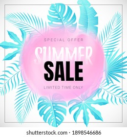 Vector Banner with Tropical Leaves and Text Summer Sale on the Abstract Pink Watercolor Smear. White background. Discount Poster.