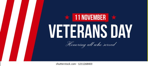 Vector banner of Veterans Day USA. November is Honoring all who saved month. Poster design. Negative space style design text.
