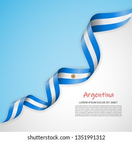 Vector banner in white and blue colors and waving ribbon with flag of Argentina. Template for poster design, brochures, printed materials, logos, independence day. National flags