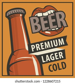 Vector banner with words Beer, premium, lager, cold. Flat illustration in retro style with bottle of beer and a mouth biting on the word Beer.