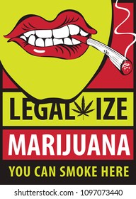 Vector banner with words Legalize marijuana with a human mouth with a joint or a cigarette in his mouth. Smoking weed. Drug consumption