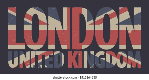 Vector banner with words London, United Kingdom in colors of british flag in retro style. Symbols of the UK, can be used as a design element or a t-shirt design