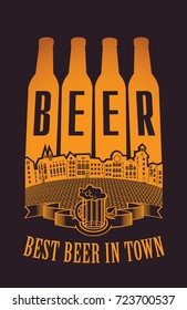 Vector banner with wreath of wheat and overflowing beer glass with lettering on the beer theme on the gray paper background in a retro style.