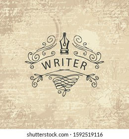 Vector banner with writer logo on abstract background in retro style. Artistic illustration with hand-drawn fountain pen on the backdrop with unreadable handwritten notes, stains and curlicues
