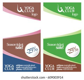 Vector banner  for Yoga Club. Template in green, brown, white, blue colors