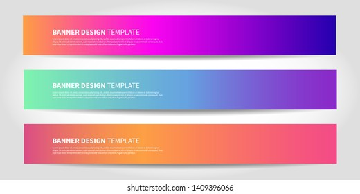 Vector banners with abstract background. Colorful modern website headers or footers design