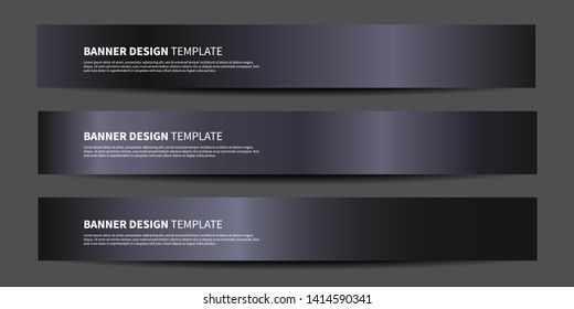Vector banners with abstract black background. Metallic black vector website headers or footers design