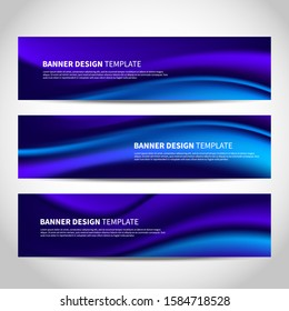 Vector banners with abstract blue wavy background. Mesh blue vector website headers or footers design with marine theme for travel agency