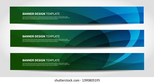 Vector banners with abstract geometric background. Website headers or footers design. Blue and green colors