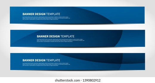 Vector banners with abstract geometric blue background. Website headers or footers design
