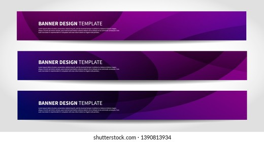 Vector banners with abstract geometric purple and blue background. Website headers or footers design