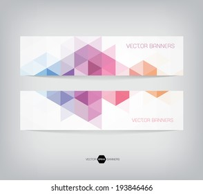 Vector banners with abstract multicolored polygonal mosaic background. Modern geometric triangular pattern. Business design template. Purple blue pink and orange colors