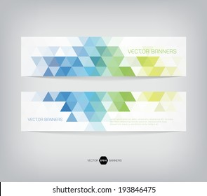 Vector banners with abstract multicolored polygonal mosaic background. Modern geometric triangular pattern. Business design template. Blue green and yellow colors
