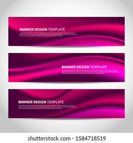 Vector banners with abstract pink wavy background. Mesh black purple vector website headers or footers design