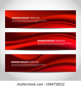 Vector banners with abstract red Christmas background. Mesh red wavy vector website headers or footers design
