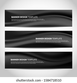 Vector banners with abstract wavy black background. Mesh black vector website headers or footers design