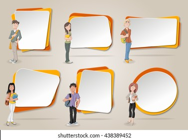 Vector banners / backgrounds with cartoon teenager students. Design text box frames.