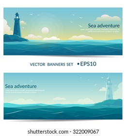 Vector banners. Blue sea background with waves and lighthouse.