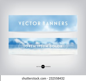 Vector banners with blurred unfocused photographic background. Cloudy sky and boats on the beach