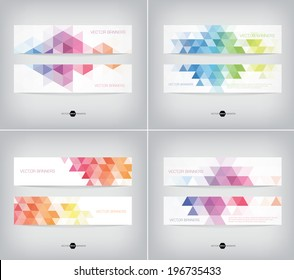Vector banners collection with abstract multicolored polygonal mosaic backgrounds. Modern geometric triangular patterns. Business design templates.