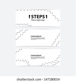Vector banners. Creative banners with space for your content. Human steps, track. Find a right way for your clients.