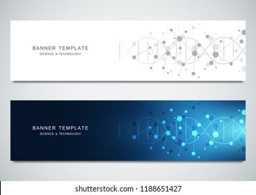 Vector banners design for medicine, science and technology. Molecular structure background and DNA helix