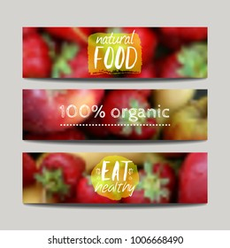 Vector banners design template with blur background with fruits and strawberry. Healthy fresh food, vegeterian and eco concept. Can be used for presentation, web, flyer, magazine, cover, poster.