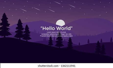 Vector banners with forest and hills landscape illustration