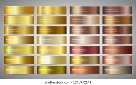 Vector Banners with gold and bronze gradient backgrounds. Website headers. Vector golden and beige design for your banners, headers, footers, flyers, cards etc.