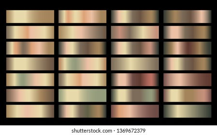 Vector Banners with gold and bronze rusty pitting gradient texture backgrounds. Website headers. Vector golden and beige mesh design for your banners, headers, footers, flyers, cards, posters, report