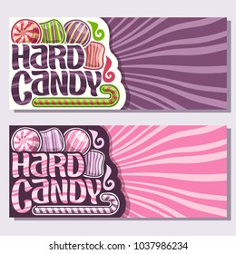 Vector banners for Hard Candy with copy space, 4 striped candies and christmas sweet cane stick, original brush typeface for words hard candy, in layout flyer purple and pink waves background for text