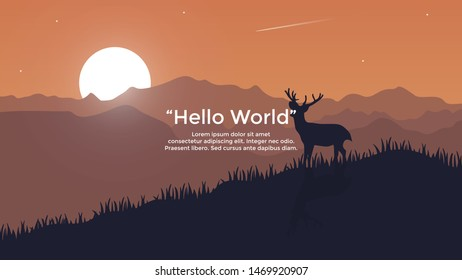 Vector banners with polygonal landscape illustration