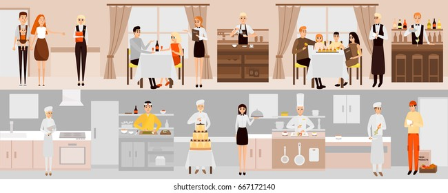 Vector banners with restaurant interior. People having dinner in restaurant. Cartoon characters. Chefs cooking food in kitchen room. Vector illustration in flat design.