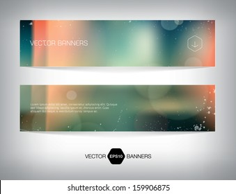 Vector banners with retro blurry soft photographic bokeh background. Smooth unfocused film effect. Soft shades, light leaks, cross process effect, light grungy texture.