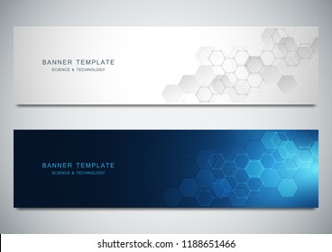 Vector banners for science and digital technology. Geometric abstract background with hexagons design. Molecular structure and chemical compounds