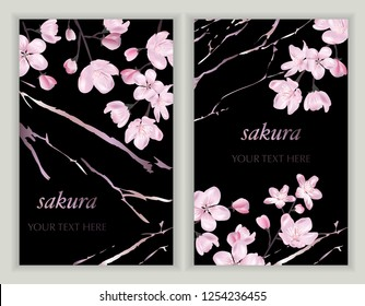 Vector banners set with Cherry Blossom. Blossoming sakura branch. Template for greeting cards, wedding decorations, invitation, sales, packaging. Spring or summer design. Place for text.