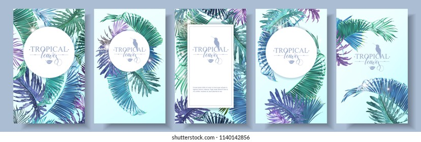Vector banners set with emerald violet tropical leaves and sunlight on blue background. Exotic botanical design for cosmetics, spa, perfume, web page, wedding invitation. Best for summer party