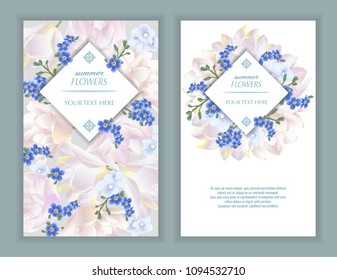 Vector banners set with forget me not, tulips and violets flowers.Template for greeting cards, wedding decorations, sales. Spring or summer design.