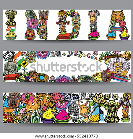 Vector Banners Set Hand Drawn Indian Stock Vector Royalty Free