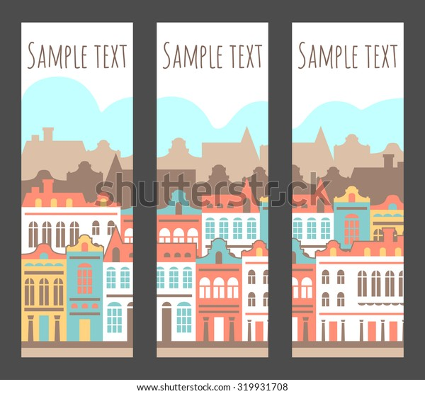 Vector banners set with houses. City header design