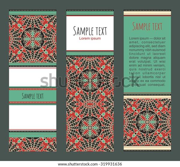 Vector banners set with orient mandala. Ethnic header design