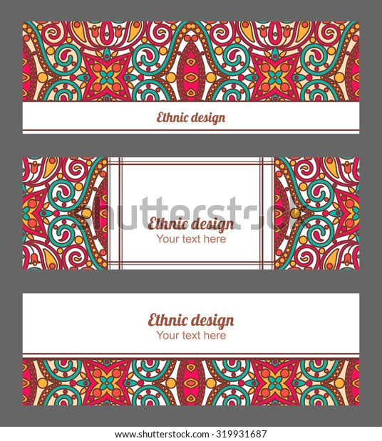 Vector banners set with orient ornamental pattern. Ethnic header design