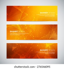 Vector banners set with polygonal abstract shapes, with circles, lines, triangles. Abstract polygonal low poly banners with connecting dots and lines. Connection structure. Vector science background.