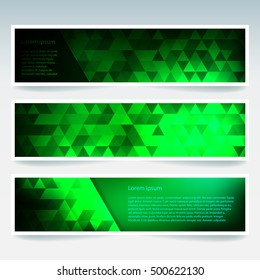 Vector banners set with polygonal abstract green triangles. Abstract polygonal low poly banners.