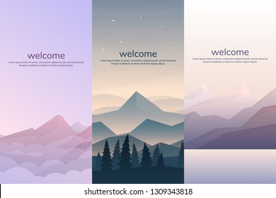 Vector banners set with polygonal landscape