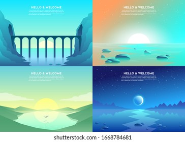 Vector banners set with polygonal landscape illustration - flat design. Minimalist style. Road over the mountains, lake, sunset, night, bridge, tunnel in mountains.