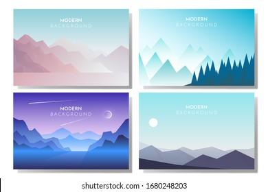 Vector banners set with polygonal landscape illustration - flat design