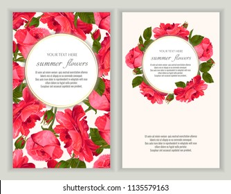 Vector banners set with roses flowers.Template for greeting cards, wedding decorations, invitation ,sales. Spring or summer design. Place for text.
